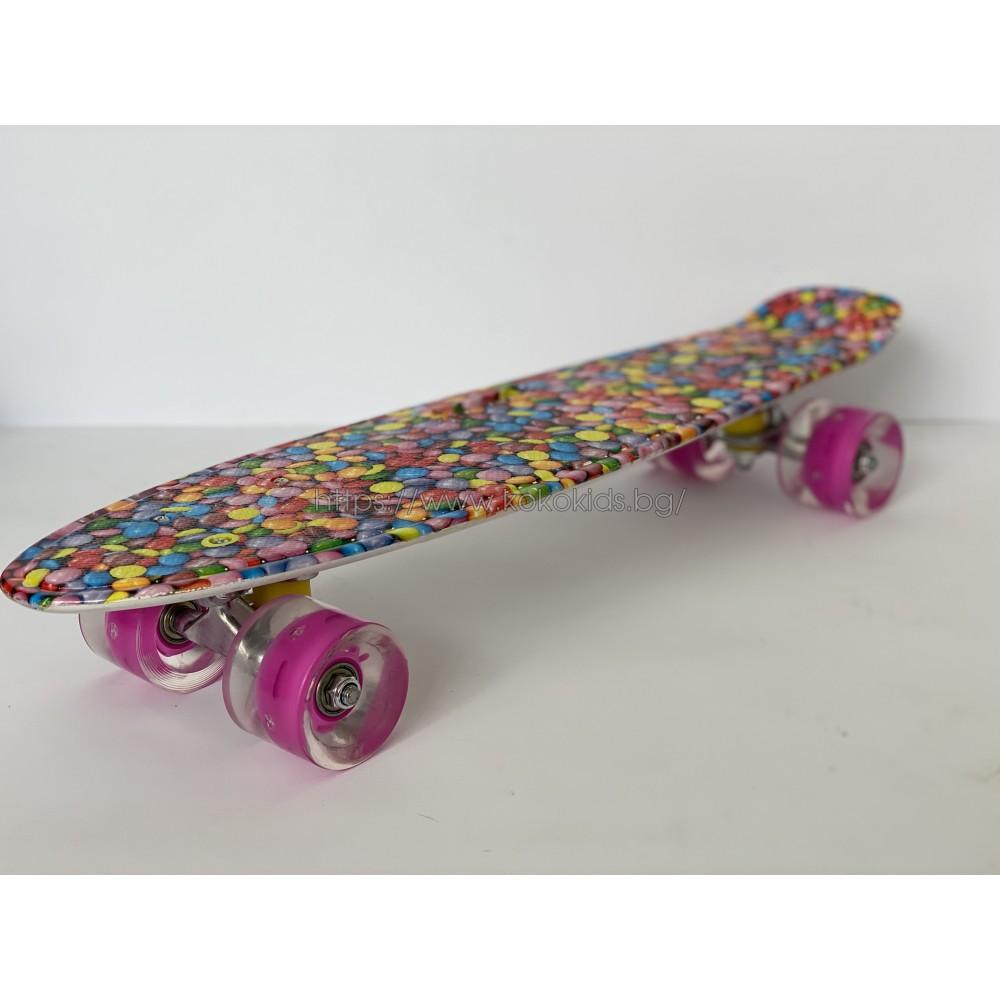Скейтборд Abstract с дръжка и светещи гуми