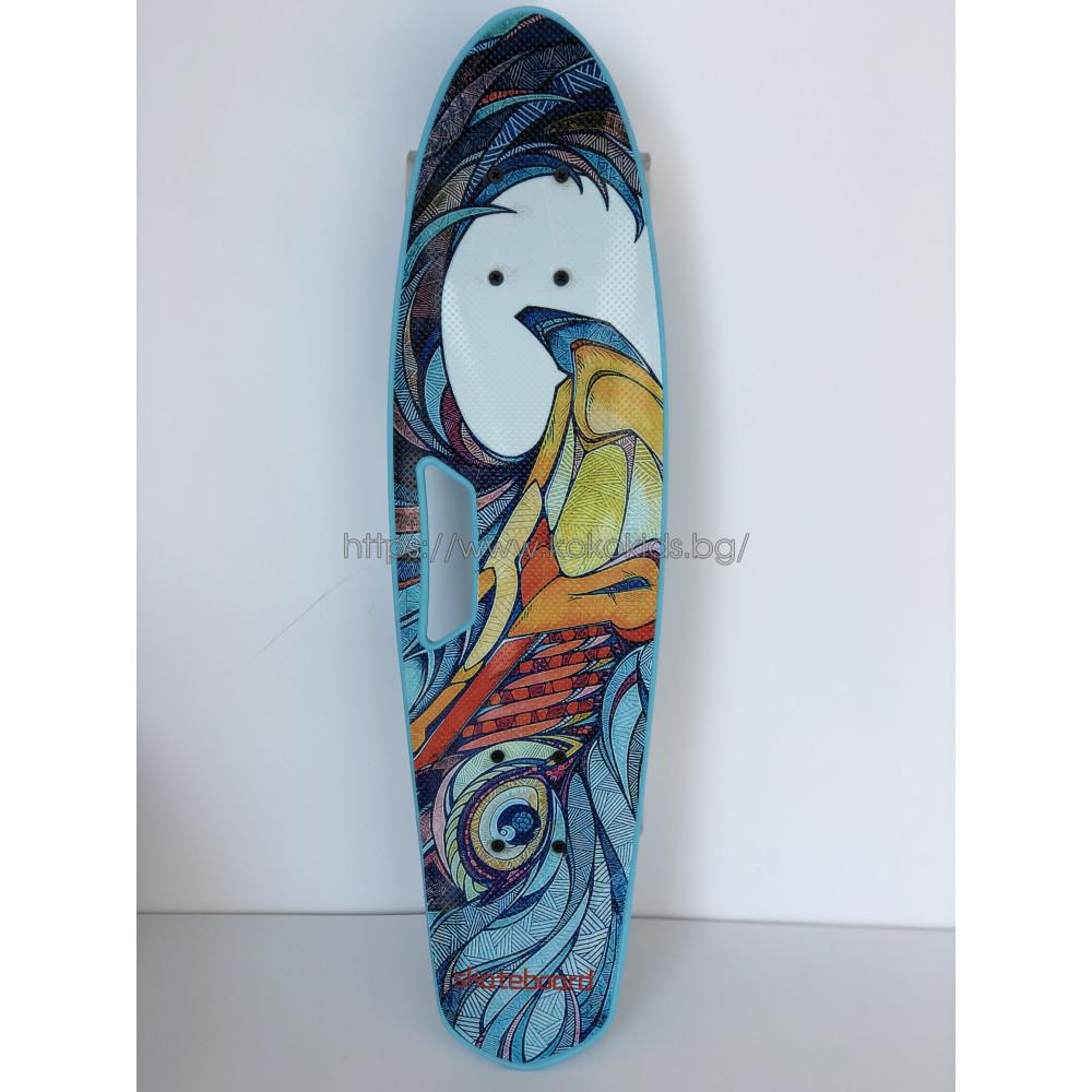 Скейтборд Wave със светещи колела и дръжка