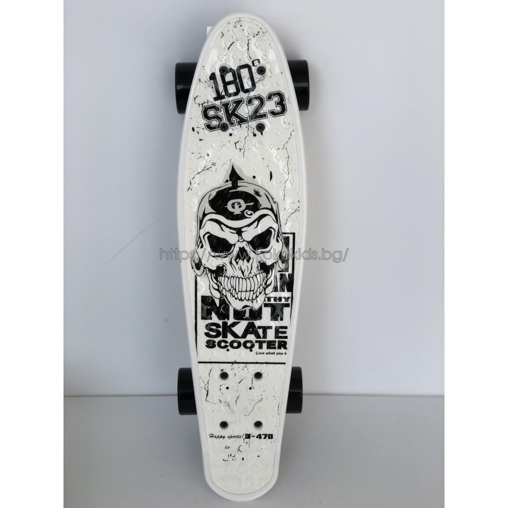 """Скейтборд Skull  22"""" с неонови колела"""