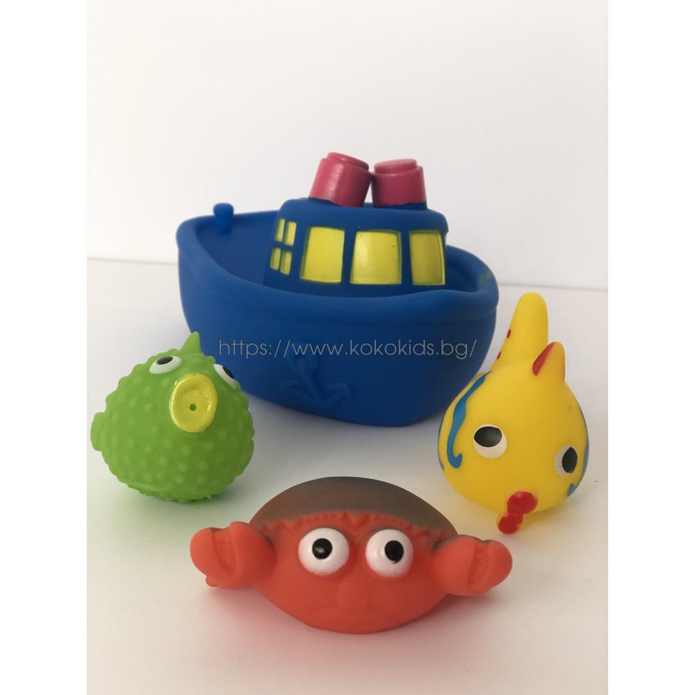 Гумени играчки за баня лодка с рибки