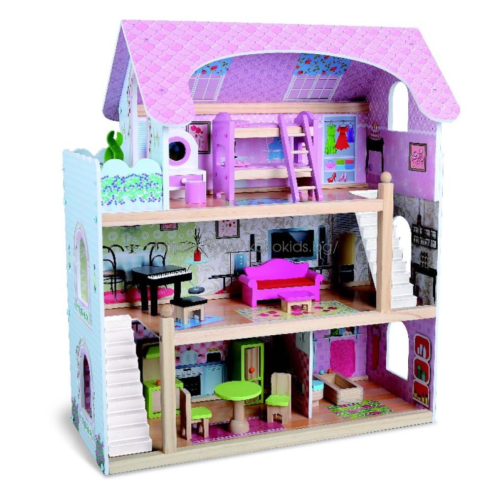 Дървена къща за кукли с обзавеждане Mila